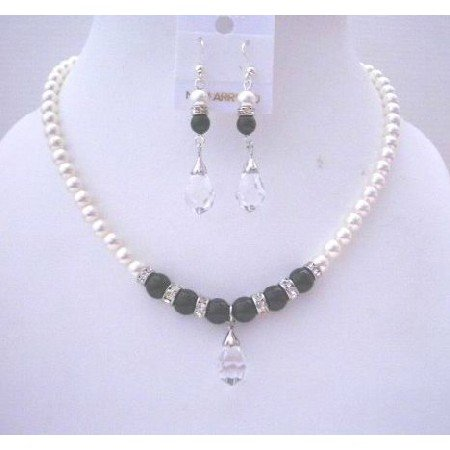 BRD511  White Pearls & Black Jewelry Sets Swarovski White & Black Pearls w/ Silver Rondells
