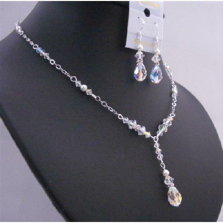 BRD673 AB Crystals White Pearls w/ Multifaceted AB Crystals Briollett Drop Down Wedding Jewelry Set