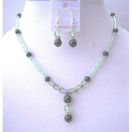 BRD498  Swarovski CANTALOUPE Crystals Jewelry Set w/ Drop Down Bridemaides Bridal Jewelry