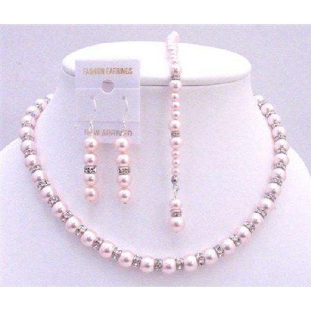 BRD684  Pink Pearls Back Drop Down Necklace Bridal Jewelry Set w/ Silver Rondells Necklace Set