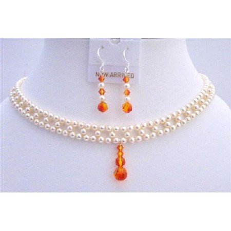 BRD702 Interwoven Necklace Bridal Jewelry Set Swarovski Ivory Pearls w/Fire Opal Crystals Drop Down