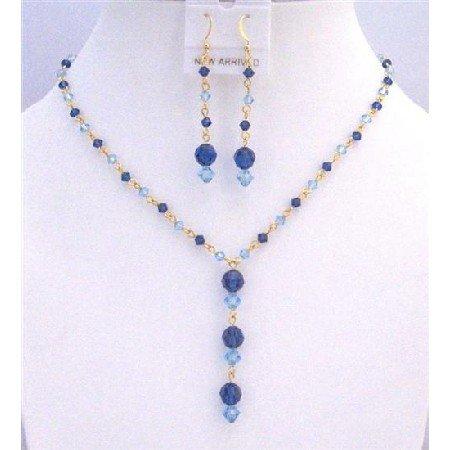 BRD828 Jewelry Set w/ Genuine Swarovski Blue Crystals Aquamarine Sapphire Crystals Jewelry Set