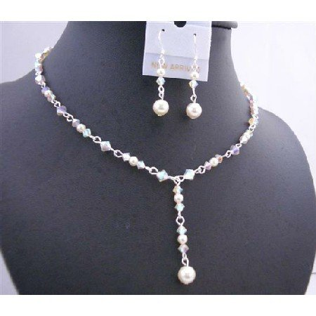 BRD670White Swarovski Crystals AB 2X w/Genuine Swarovski Cream Pearls Y Shaped Necklace Set