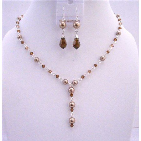 BRD655Bronze Pearls Smoked Topaz Crystals Handcrafted Custom Jewelry Y Shaped Necklace Set
