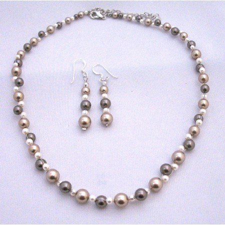 BRD871  Bronze Brown & Ivory Pearls Wedding Handcrafted Beautifuly TriColor Pearls Necklace Set