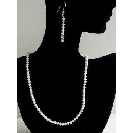 BRD367 Exclusive Jewelry Swarovski Chalk & AB Chalk Sterling Silver Earrings & Necklace