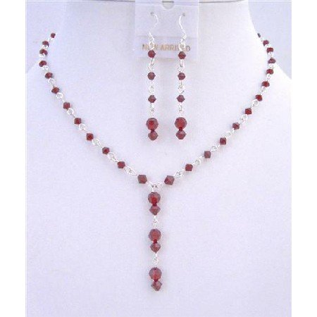 BRD736  Bridal Necklace Earrings Set Handmade Swarovski Siam Red Crystals Drop Down Jewelry Set