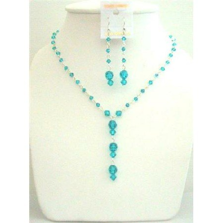 BRD444 Custom Bridal Genuine Swarovski Bluezircon AB Bluezircon Necklace Set