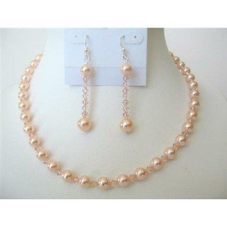 BRD489  Swarovski Peach Pearls & Crystals Jewelry Sets Bridemaides Necklace Set