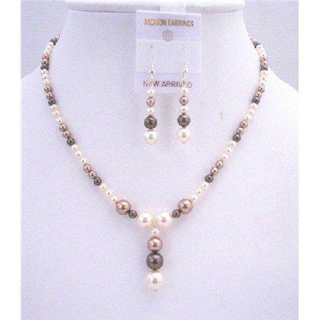 BRD560  Ivory Bronze Dark Brown Swarovski Pearls Jewelry Set Wedding Bridal Sets