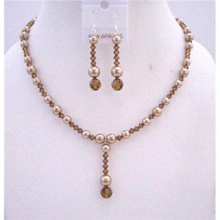BRD622 Swarovski Bronze Pearls Necklace Set w/ Swarovski Smoked Topaz Crystals Drop Down