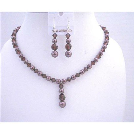 BRD555  Burgundy Swarovski Pearls w/ Swarovski Burgundy Crystals Bridal Jewelry Sets