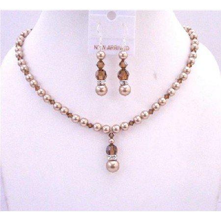 BRD621 Bronze Pearls Swarovski Smoked Topaz Crystals Jewelry Set Handcrafted Necklace Set