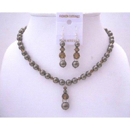 BRD506  Brown Chocolate Pearls & Swarovski Crystals SMoked Topaz Handcrafted Jewelry Set