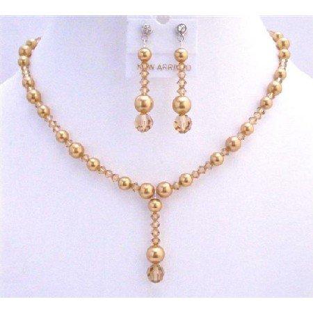 BRD726 Swarovski Lite Colorado Crystals Golden Pearls Necklace Set Wedding Jewelry Set