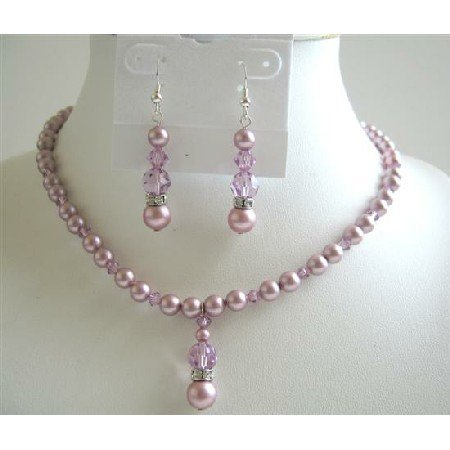 BRD590  Lavender Crystals Jewelry Set Rose Pink Pearls & swarovski Lavender crstal Necklace Set