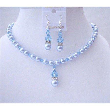 BRD573 Blue Aquamarine Swarovski Pearls & Aquamarine Crystals Wedding Jewelry Set