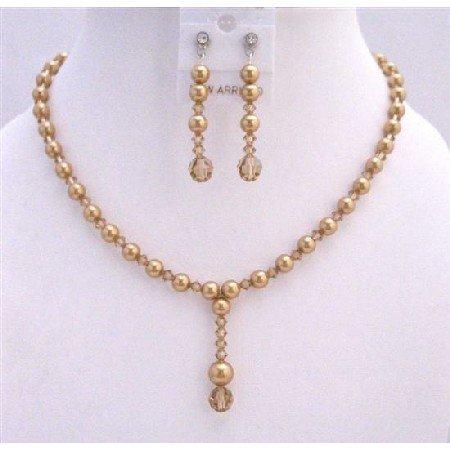 BRD722Drop Down Golden Pearls Colorado Handcrafted Jewelry Set Swarovski Crystals Pearls Set