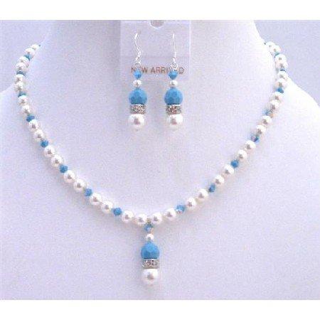 BRD740Blue Pool Jewelry Set White Swarovski Pearls w/Swarovski Turquoise Crystals Necklace Set