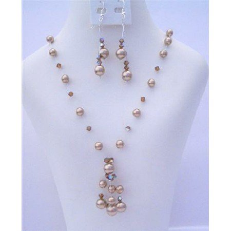 BRD407 Swarovski Bronze Pearls And AB Smoked Topaz Crystals Necklace Set w/ Drop Tassel