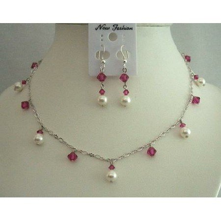 BRD318Bridal Jewelry Good Rhodium Necklace Genuine Swarovski Pearls & Crystals Necklace Set