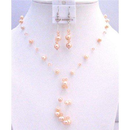 BRD847 Swarovski Peach Pearls w/Swarovski Peach Crystals Tassel Drop Down Jewelry Set