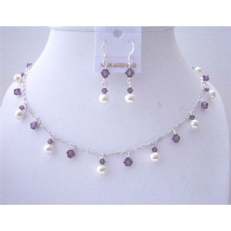 BRD485Bridemaides Handcrafted Jewelry Swarovski Amethyst Crystals&White Pearls Necklace Set