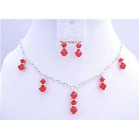 BRD691  Lite Siam Red Swarovski Crystals Necklace Set Red Crystals Beads Dangling Jewelry Set
