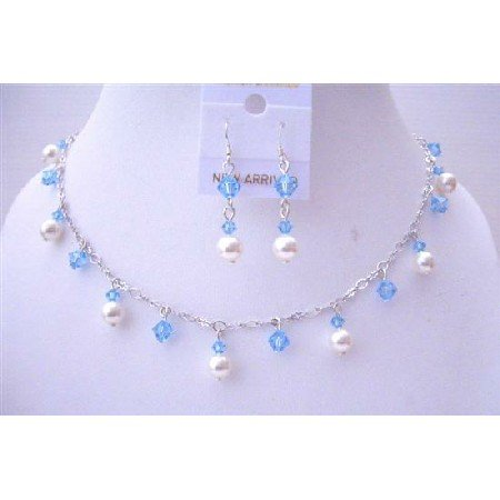 BRD541  Aquamarine Crystals White Pearls Swarovski Pearls And Crystals Necklace Set