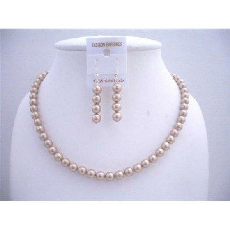 BRD571 Swarovski Champagne Pearls Jewelry Set w/ Dangling Pearls Earrings