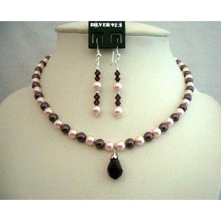 BRD315  Genuine Swarovski Rosaline & Burgundy Pearls Necklace Set Bridesmaides Bridal Jewelry