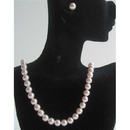 BRD435Genuine Swarovski Pink Pearls Necklace Set w/ Stud Pearls Earrings