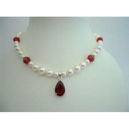 BRD229  Bridal Necklace Genuine Swarovski Cream Pearls & Siam Red Crystals w/ Pendant Handcrafted