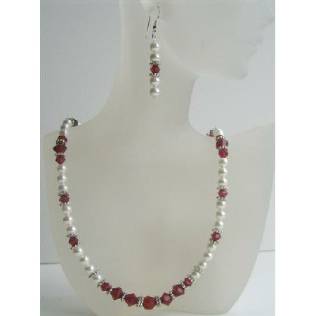 BRD386 Genuine Pearls & Crystals Handmade Jewelry w/Swarovski White Pearls & Siam Red Crystals