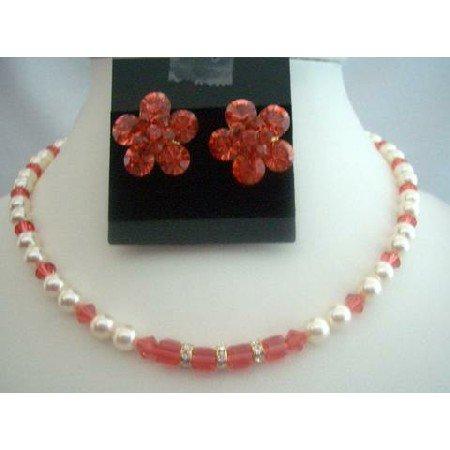 BRD296Wedding Jewelry Bridal Necklace Set w/Genuine Cream Pearls & Padparadscha Crystals