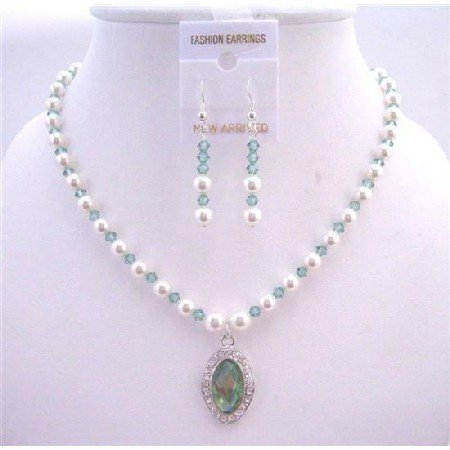 BRD262 Genuine Erinite Crystals & White Pearls Necklace Set