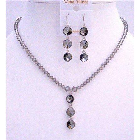 NSC605Black Diamond Swarovski Crystals w/ Round Crystals 3 Beads Pendant Earrings Necklace Set