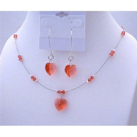 NSC488  Padparadscha Crystals Heart Necklace Set w/ Sterling Silver Hoop Heart Dangling