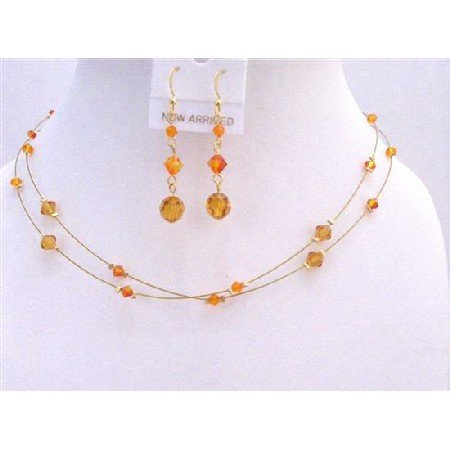 NSC647Golden Wire Round Necklace w/Genuine Swarovski Topaz & Fire Opal Crystals Necklace Set
