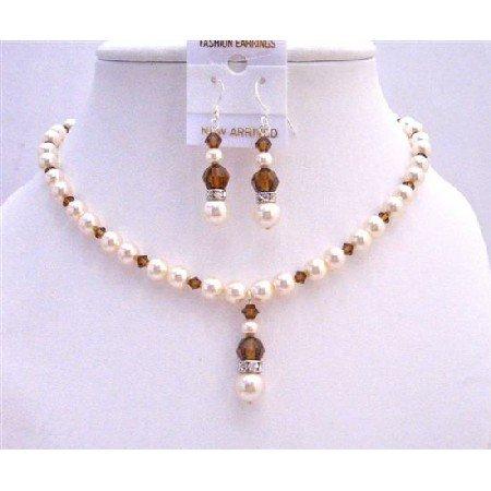 NSC633Swarovski Ivory Pearls Smoked Topaz Crystals w/ Silver Rondells Jewelry Set