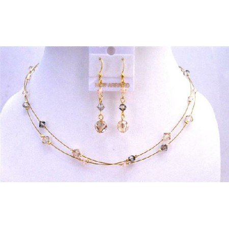 NSC648  TriColor Crystals Jewelry Set Golden Wire Round Necklace Set