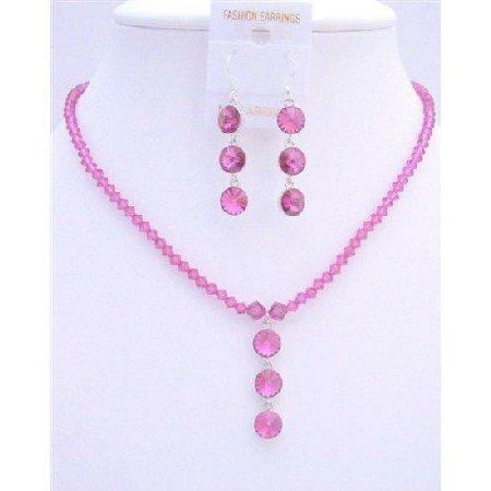 NSC614Fuschia Swarovski Crystals Jewelry Set w/Drop Down Pendant Necklace Set
