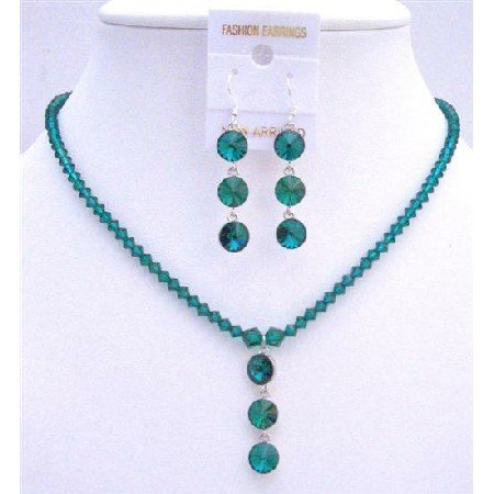 NSC608Handcrafted Emerald Swarovski Crystals Sterling Silver Earrings Necklace Set