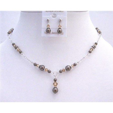 NSC652  Brown Pearls Lite Smoked Topaz Jewelry Set Drop Down In Sleek Silver Necklace Set