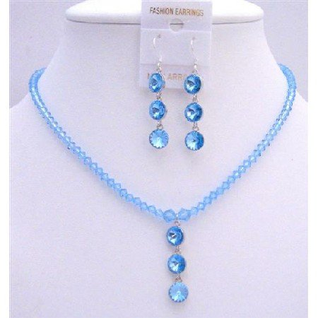 NSC613  Fine Aquamarine Crystals Swarovski Beads Elegant Sleek Jewlery Set w/ Drop Down