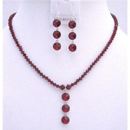 NSC609Siam Red Swarovski Siam Red Handmade Crystals Jewelry Set w/ Drop Down Jewelry Set