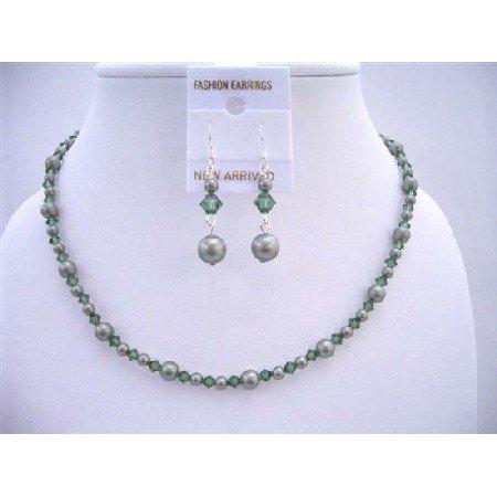 NSC581  Powder Green Pearls w/ Turmarine Swarovski Crystals Custom Jewelry Set Handcrafted Set