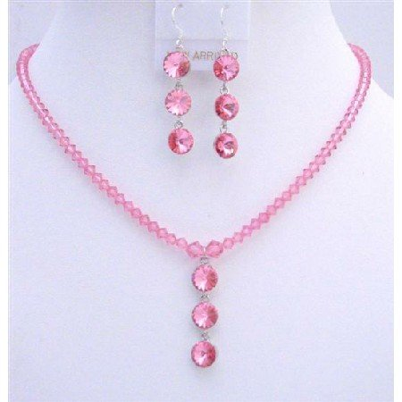 NSC618  Genuine Swarovski Rose Pink Crystals Drop Down Pendant Necklace Set