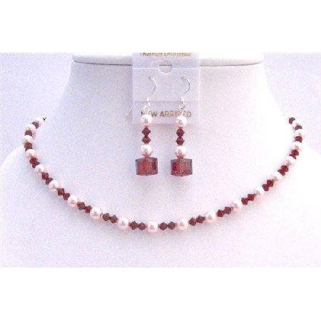 NSC632  Siam Red Swarovski Crystals w/ Rose Pink Pearls Neckalce Set