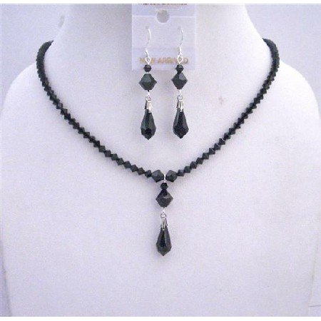 NSC538Black Crystals Jewelry Set Swarovski Jet Crystals w/Sterling Silver Earrings Necklace Set
